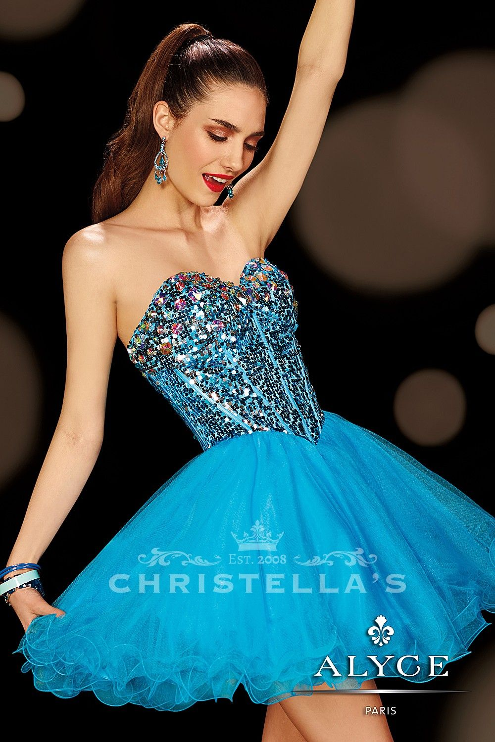 Party all night long in this playful short dress full of sparkle and ...
