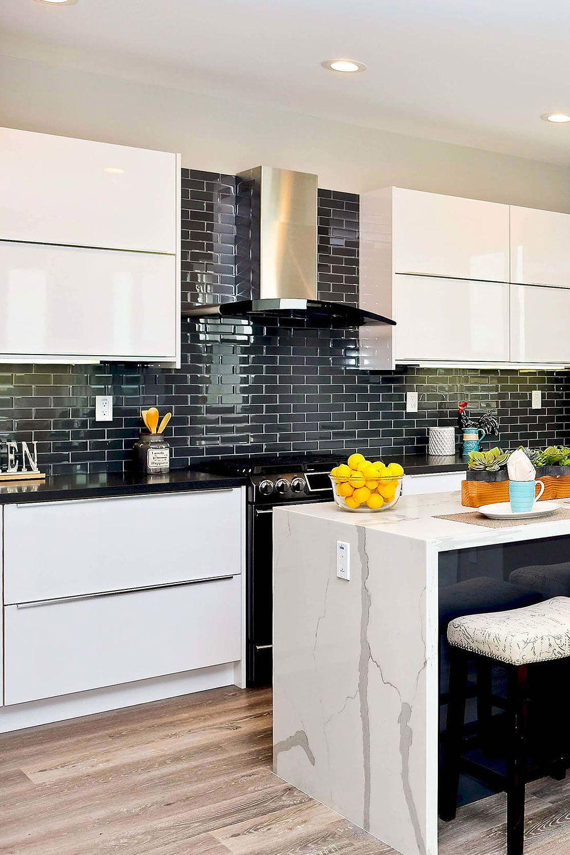 31 Black Subway Backsplash Ideas The Power Of Black Color Kitchen Design Decor Contemporary Kitchen Kitchen Design Small