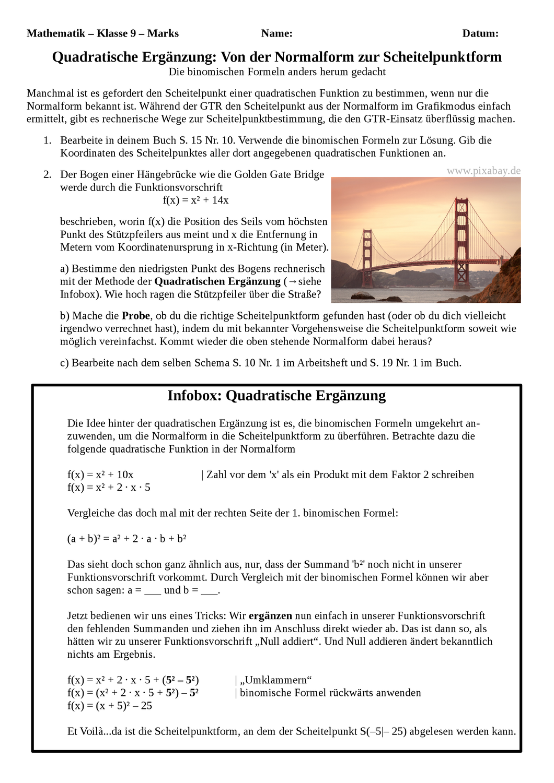 Quadratische Erganzung Von Der Normalform Zur Scheitelpunktform Quadratische Funktionen Unterrichtsmaterial Im Fach Mathematik In 2020 Quadratische Funktion Quadrat Bruchrechnen