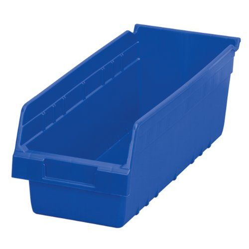 Akromils 30098 Shelfmax Plastic Nesting Shelf Bin Box 18inch Length X 675 Inch Width X 6inch Height Case Of 10 Blue Shelf Bins Tall Shelves Shelves