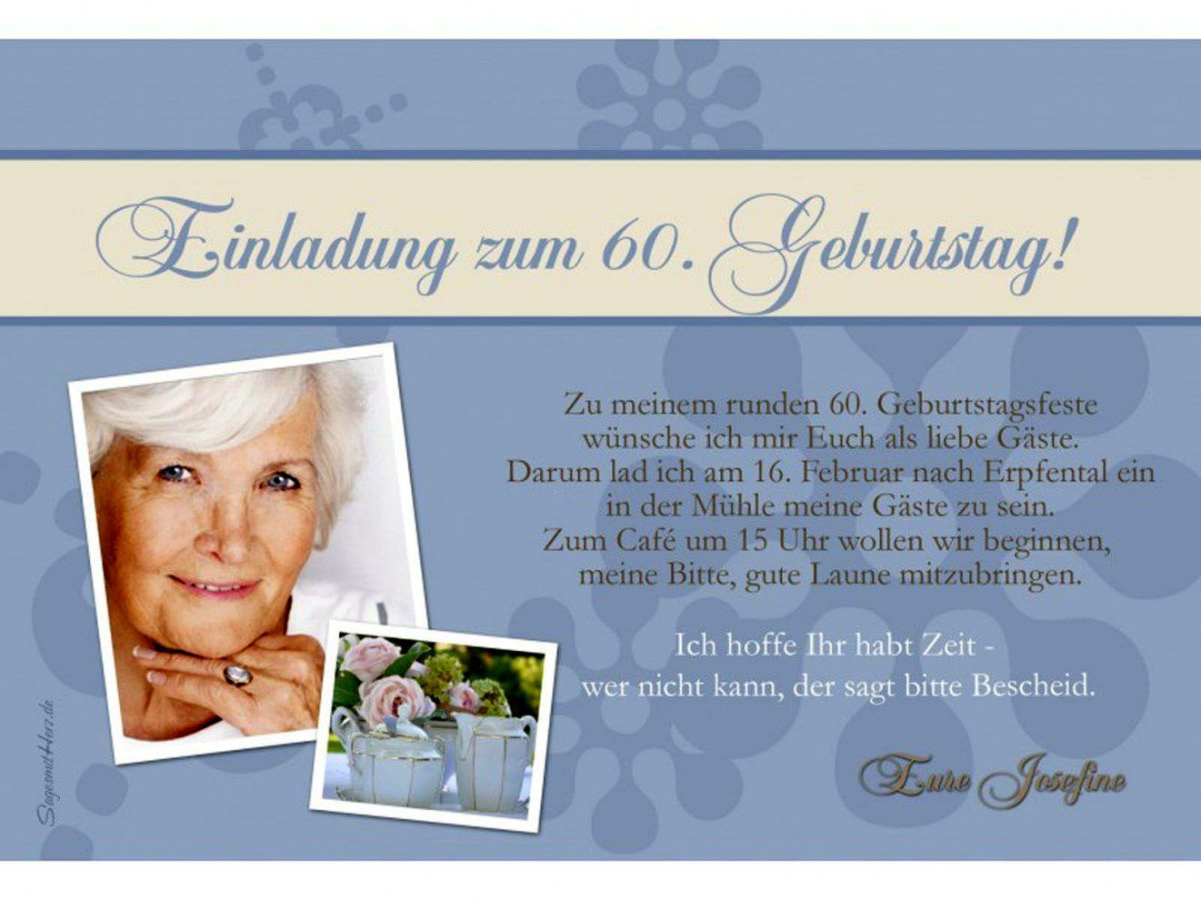 Pin Von Erika Lemke Auf Einladung 60 Geburtstag In 2020