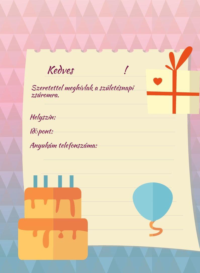 szülinapi meghívók szerkesztése Nyomtatható szülinapi meghívó lányoknak | nyomtatható | Pinterest  szülinapi meghívók szerkesztése