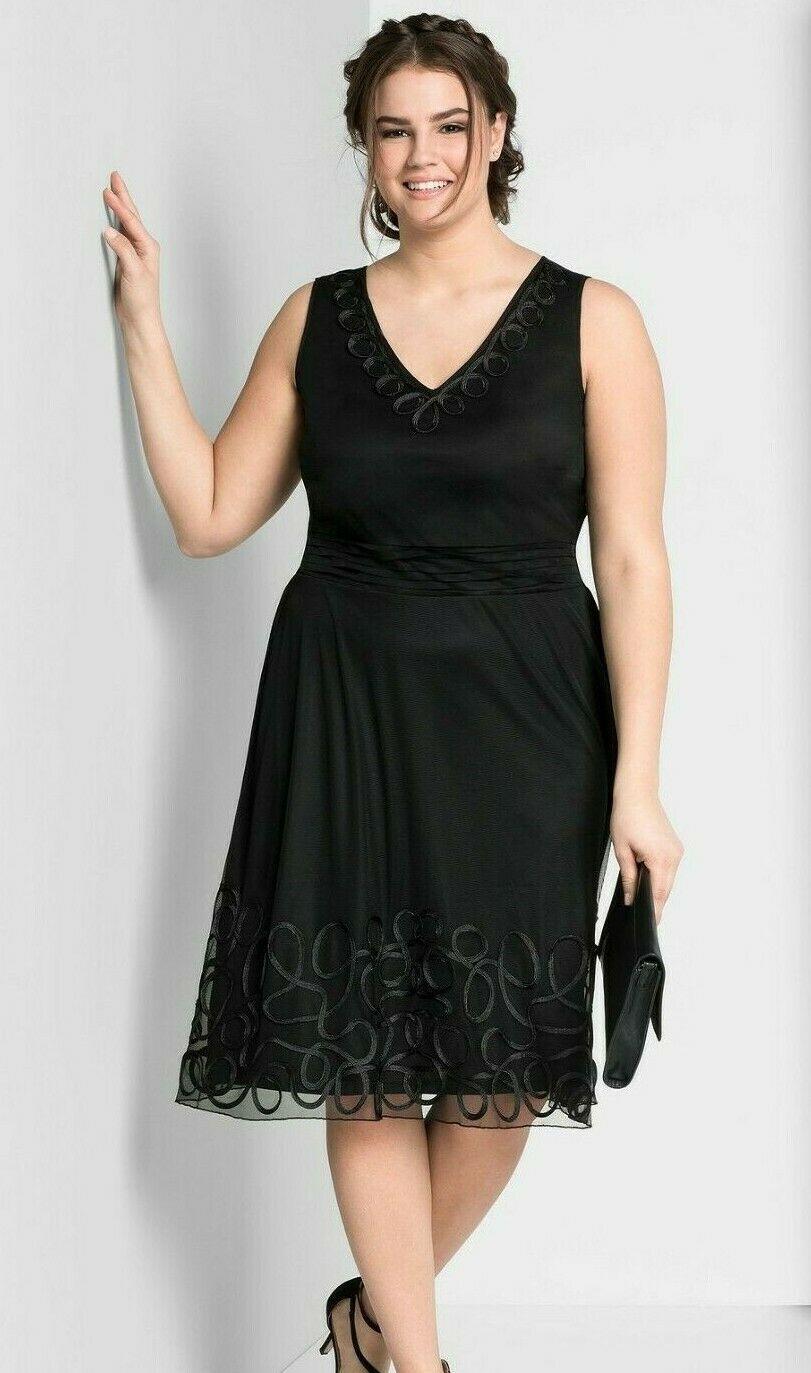 Sheego Kleid Gr.29 Damen Abendkleid schwarz Festlich knielang