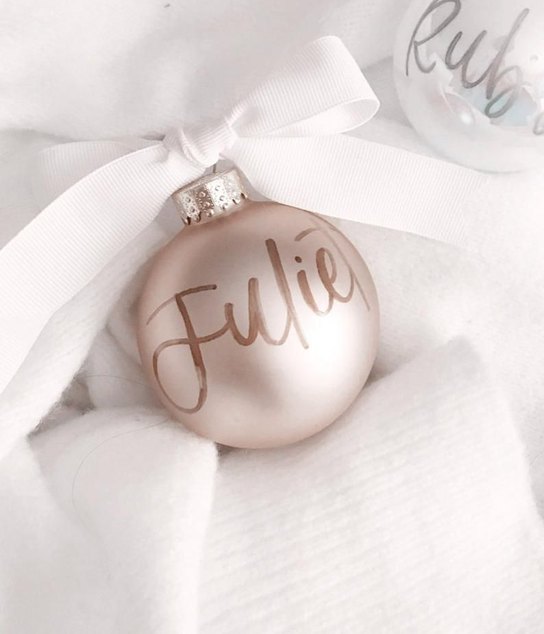 Rose Gold Ornament Blush Personalized Ornament Christmas Etsy Personalized Ornaments Custom Ornament Hand Lettering