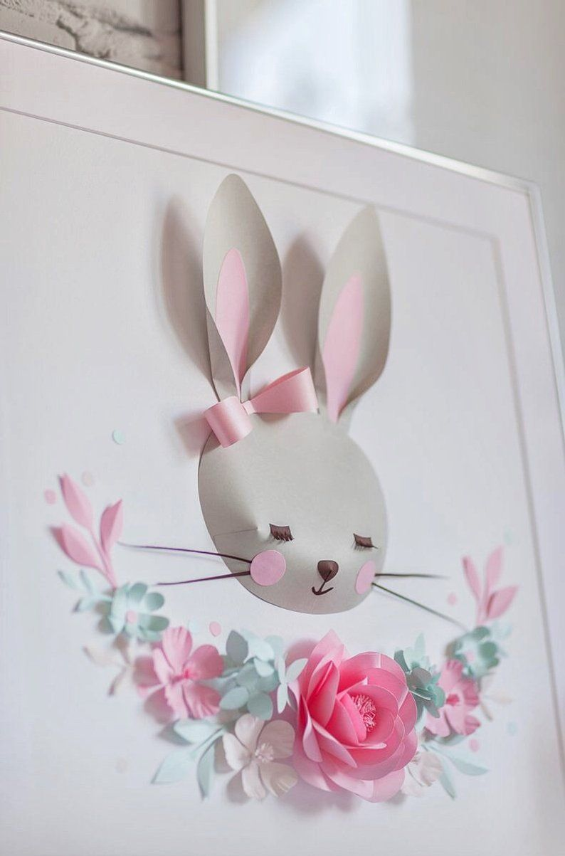 Nursery Animal Wall Decor Nursery Paper Flower Wall
