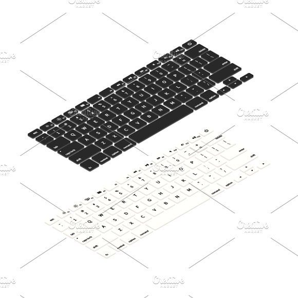 Laptop keyboards in isometric view - isometric view