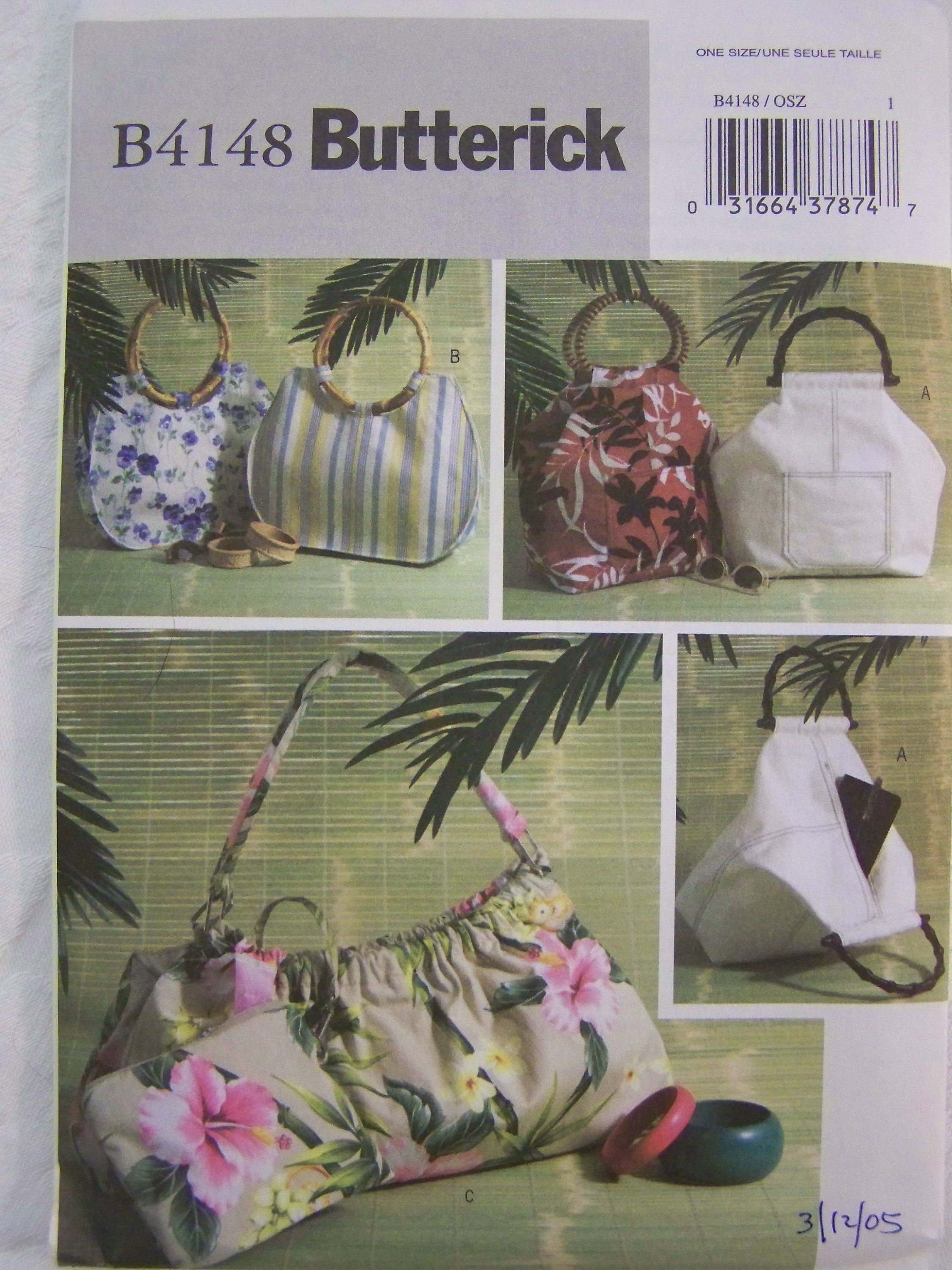 Butterick 4532 Misses/' Handbags Totes and Matching Hats   Sewing Pattern