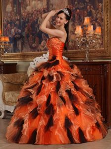 f31469caf32 Beaded and Ruffled Organza Sweet 16 Dresses in Orange and Black ...