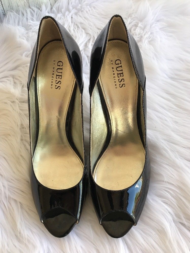 c5ccb994ce6 Guess by Marciano Patent Leather Open Toe High Heels Shoes Black Size 9.5 M