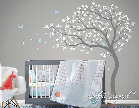 Große wunderliche Sommer Baum Wandtattoo mit Blasen, Blättern und ...