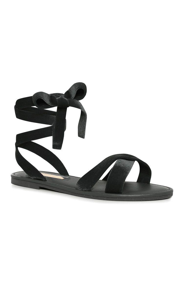 Black sandals primark - Primark Black Velvet Strap Up Sandals