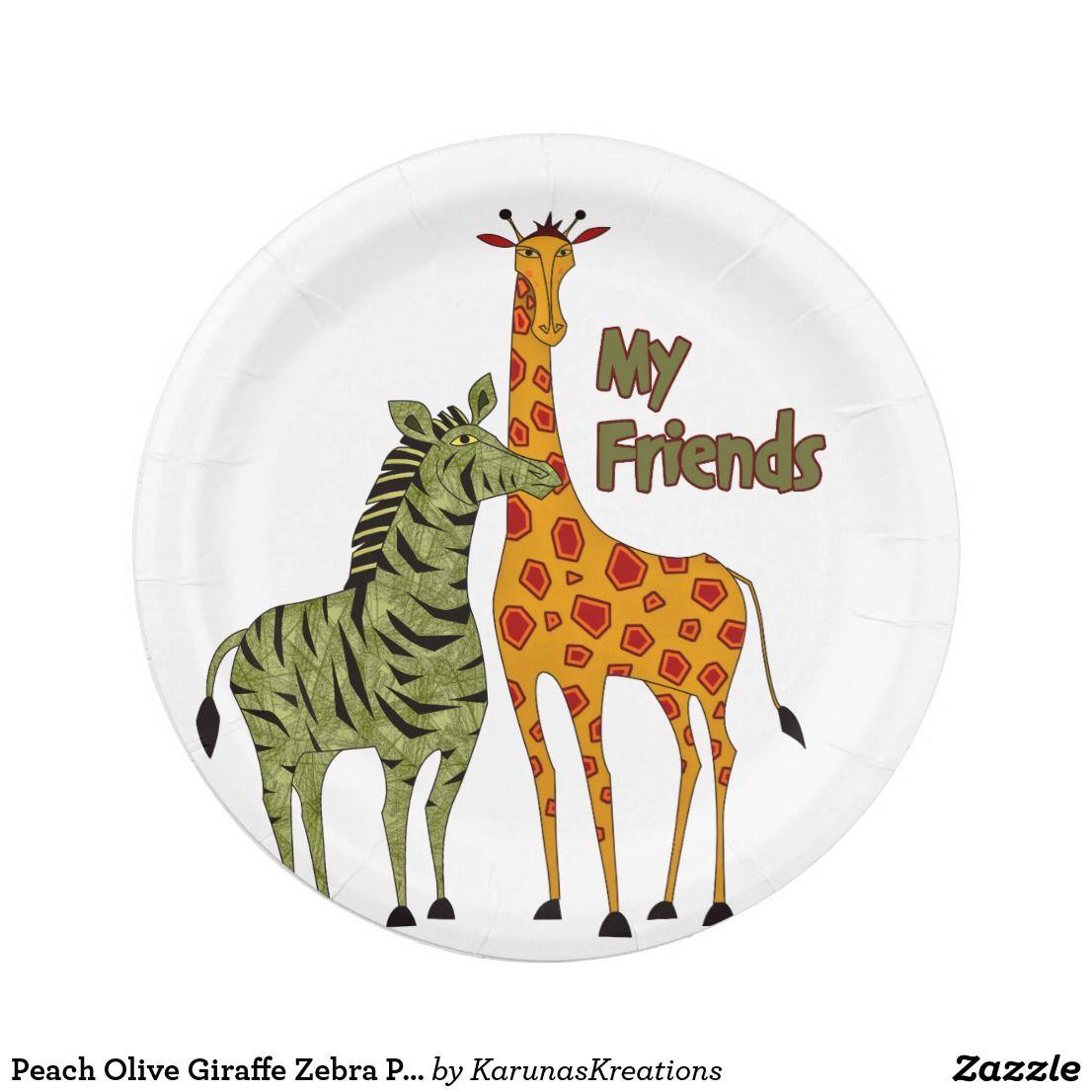 sc 1 st  Pinterest & Peach Olive Giraffe Zebra Paper Plates
