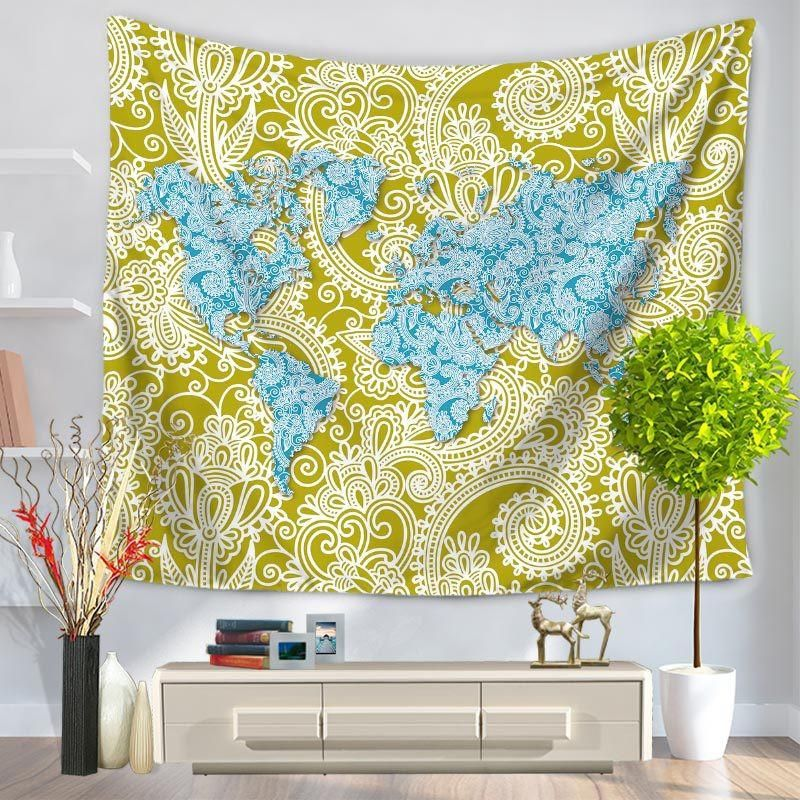 World Map Printing Tapestry Sandy Beach A Piece Of Cloth Sit Carpet ...
