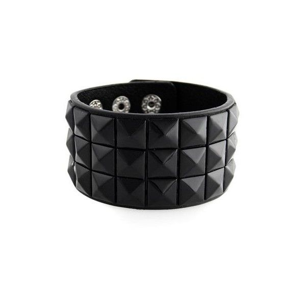 H2W New Triple And Double Studded Punk Rock Wristband Bracelets (Lots... (7.26 CAD) ❤ liked on Polyvore featuring jewelry, bracelets, accessories, black, pulseiras, snap button jewelry, kohl jewelry, studded jewelry, punk jewelry and black bangles