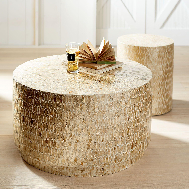 Capiz Round Drum Coffee Table Drum Coffee Table Round Drum