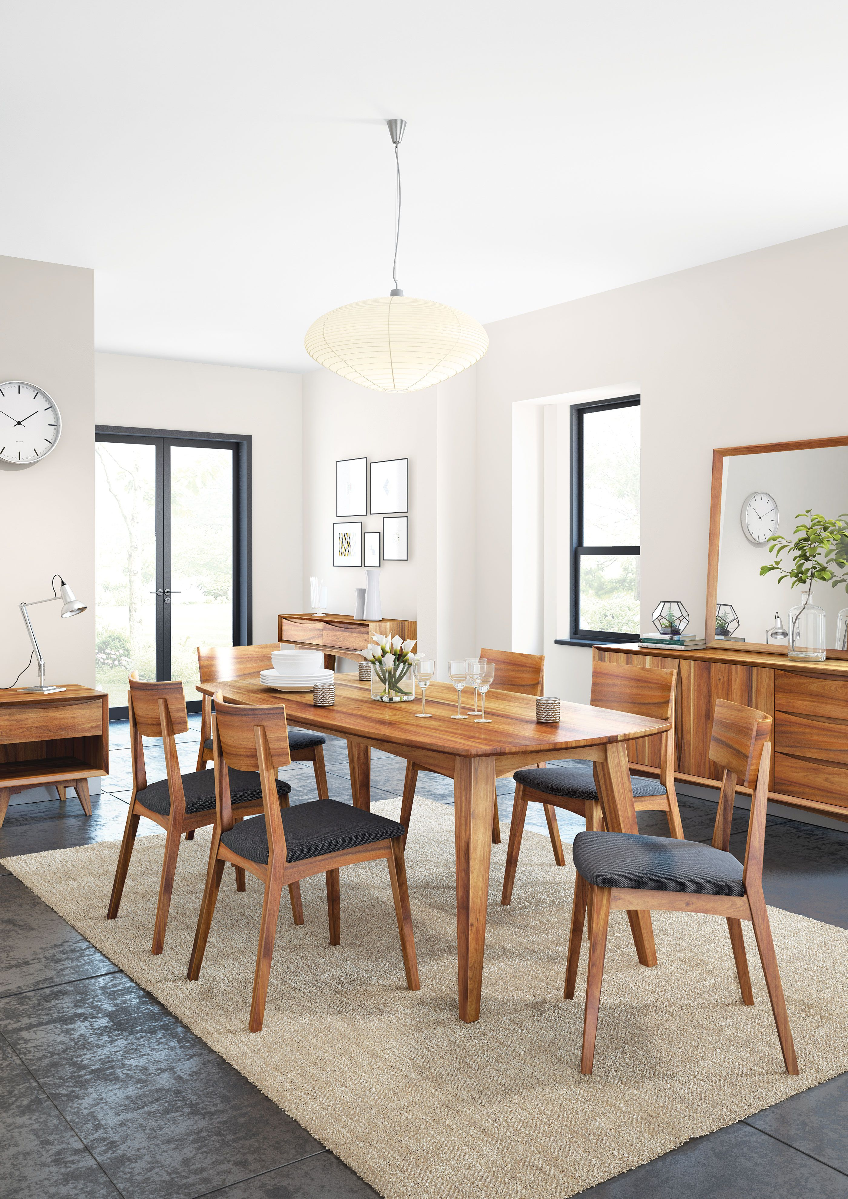 Berkeley Dining Table And 4 Side Chairs Midcentury Modern Dining