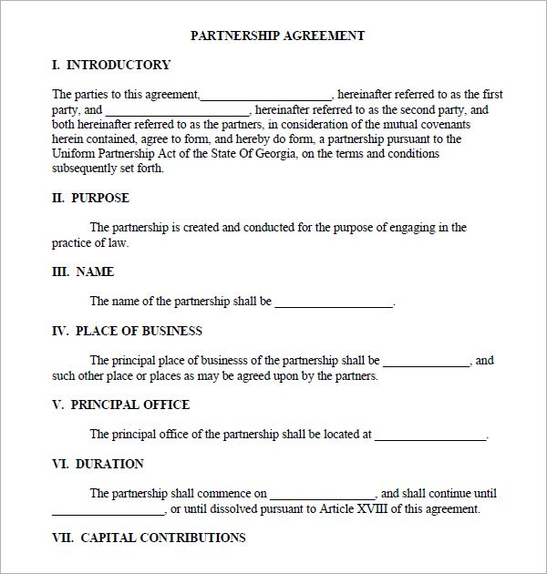 Printable Sample Partnership Agreement Sample Form With Regard To Small Business Agreement Template Contract Template Agreement Business Template
