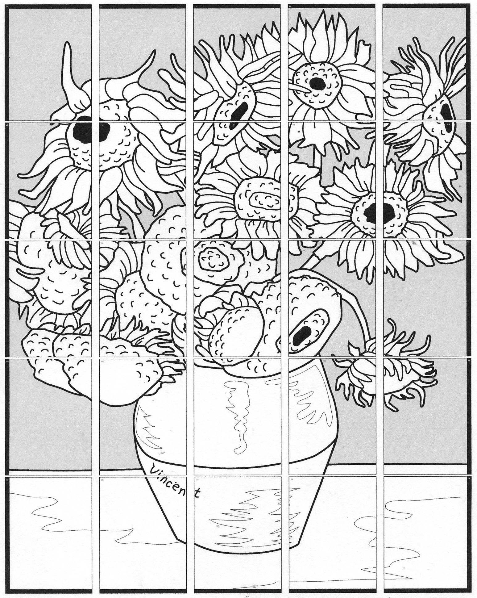 My Van Gogh Sunflower Collaborative Art Project That Is Great For Schools And Any Group That Wants To Create Kunst Voor Kinderen Kunstlessen Kunst Activiteiten