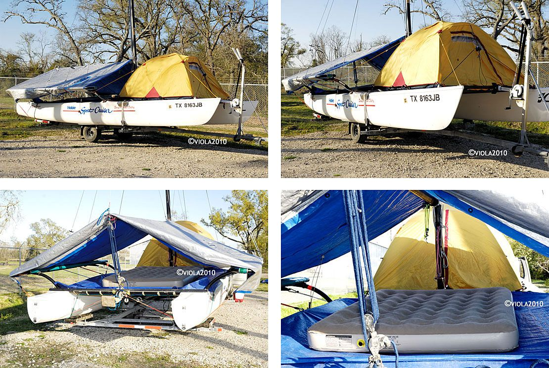 75624fc5b The old Hobie 21 SC had a LOT of tramp space. Here a camping tent is  pitched on the front tramp and a big tarp spread over the boom and wing to  ...
