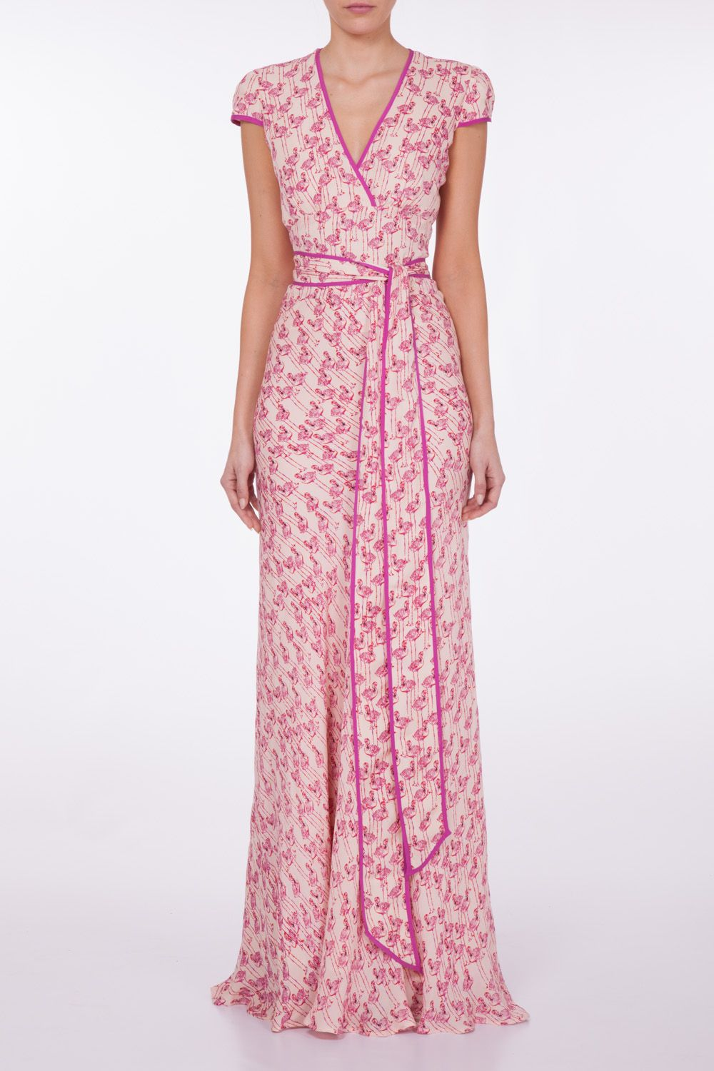 Libelula - Long Poppy , beautiful flamingo printed silk maxi Dress ...