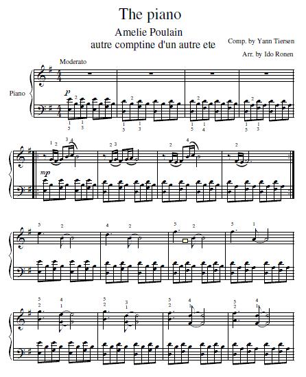 Comptine D Un Autre été Guitar Chords Amelie Soundtrack Piano Sheet Pianomuziek Bladmuziek Piano