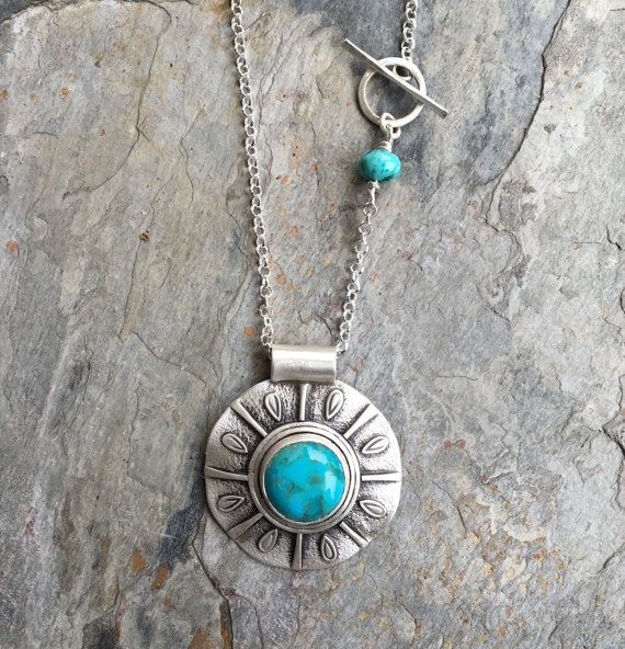 1164ba249 Turquoise Necklace in Sterling Silver. Handmade Jewelry. NC8 in 2019 ...