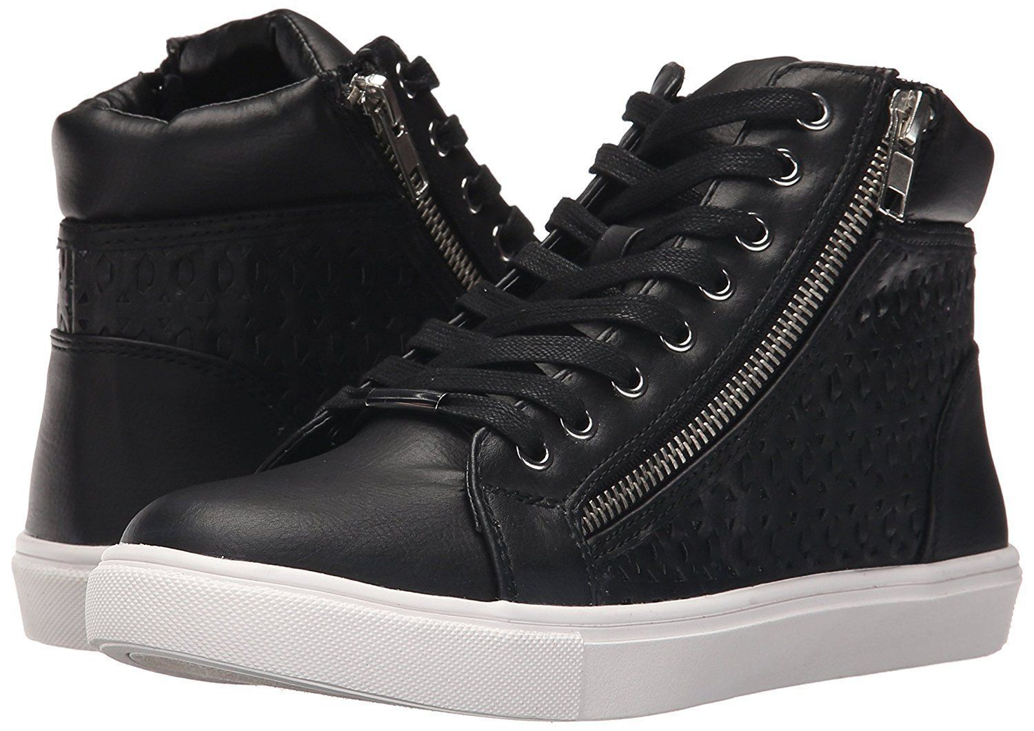 STEVE MADDEN women's EIRIS High-Top FASHION SNEAKER SHOES BLACK Leather  size 9.5