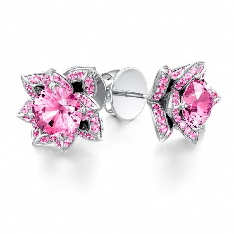 LOTUS BLOSSOM | Stud Earrings with Pink Sapphire in Platinum