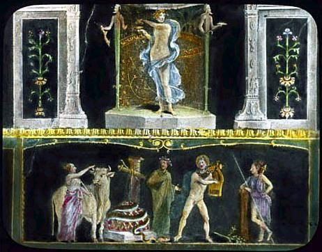 This beautiful wall painting is from a home in Pompeii. Iphigenia in Tauris / Apollo slaying Python. House of the Vetti. Pompeii, Italy. 1st century A.D.:
