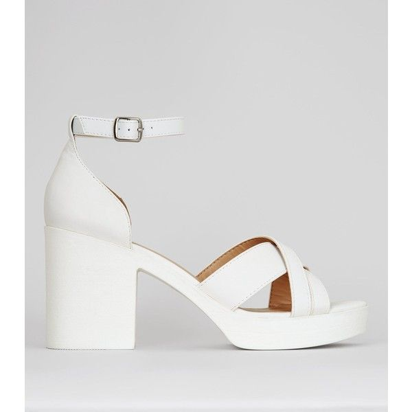 3cdd602150 New Look White Platform Cross Strap Heels (155 RON) ❤ liked on Polyvore  featuring
