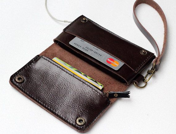 iPhone5 dark chocolate   bifold leather iPhone wallet wristlet   with zipper