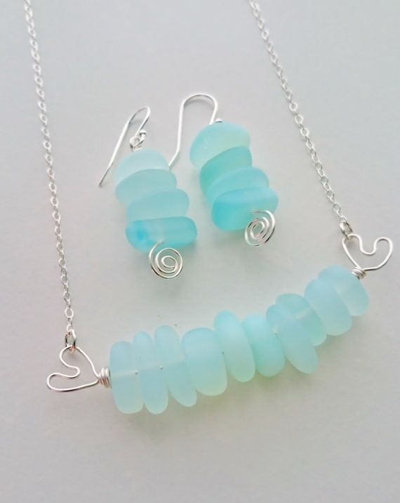 Sea Foam Sea Glass Set Sea Foam Sea Glass SeaFoam Sea Glass Necklace Sea Glass Green Mint Green SeaFoam Seaglass Light Green Jewelry