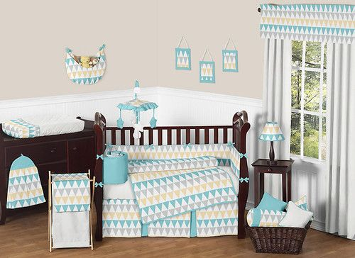 Modern Turquoise White Gray Yellow Gender Neutral Baby Boy Girl Crib Bedding Set