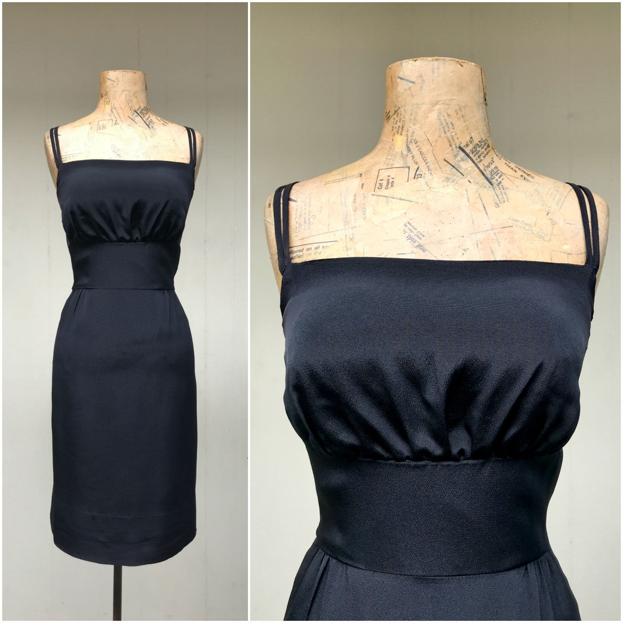 Vintage 1960s Little Black Dress 60s Crepe Wiggle Dress W Spaghetti Straps Sleeveless Mid Century Cocktail Party Extra Small 34 Bust Wiggle Dress Spaghetti Strap Little Black Dress [ 2000 x 2000 Pixel ]