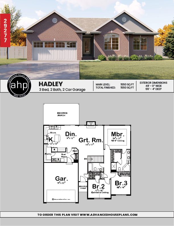 1 Story Traditional House Plan Hadley Porch House Plans Traditional House Plan House Plans