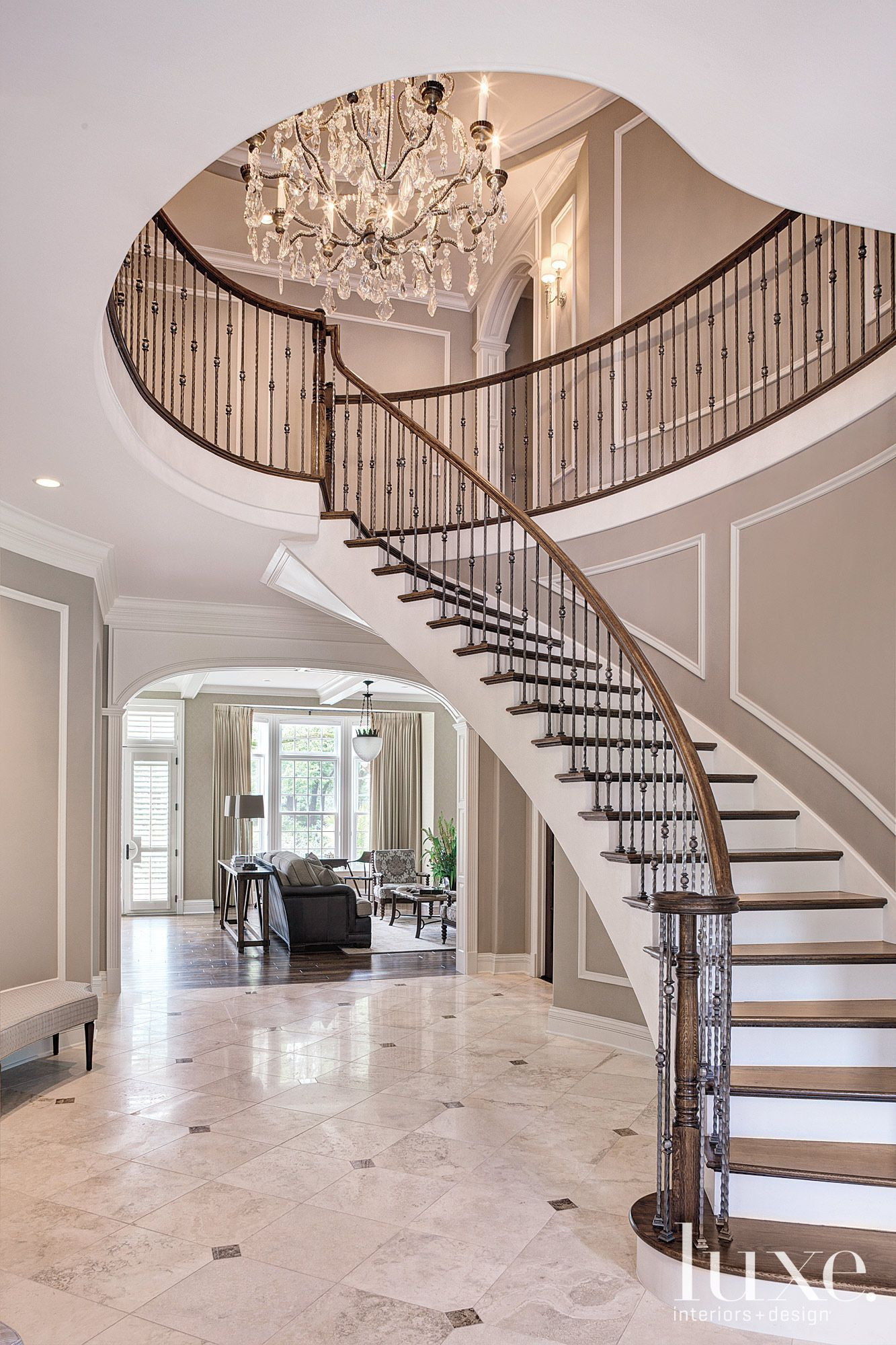 Oak And Wrought Iron Foyer Staircase Foyer Staircase Modern Staircase Modern Stairs