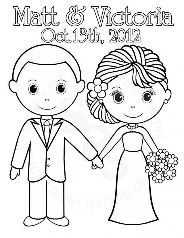 Printable wedding coloring pages for kids