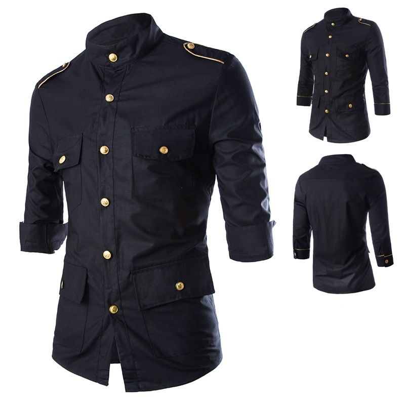 Multi Pocket Epaulette 3 4 Sleeve Dress Shirt 100904 Men shirts