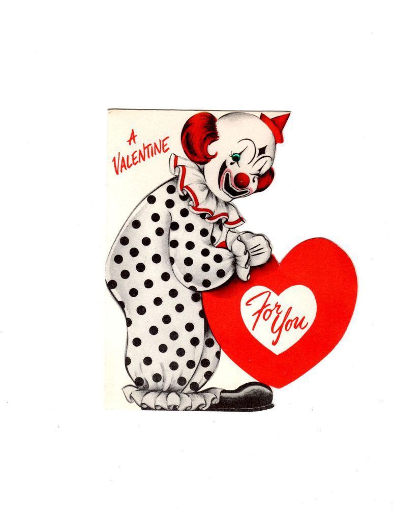Vintage Valentine S Card Valentine S Day Clown Vintage Clown Cards