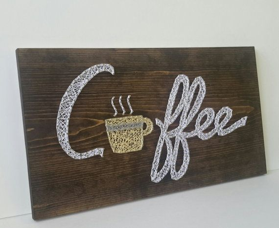Coffee with Mug String Art Beverage Decor Sign by CarolinaStrings