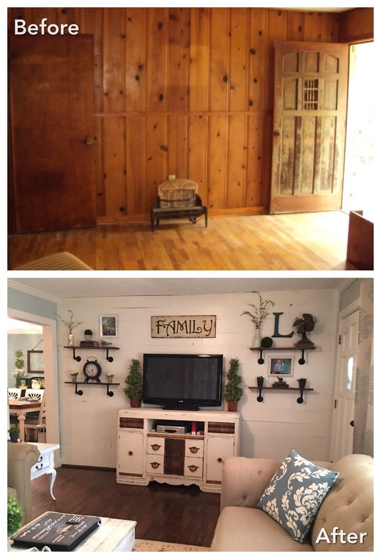 1960\'s house remodel | Living room | Shiplap accent wall ...