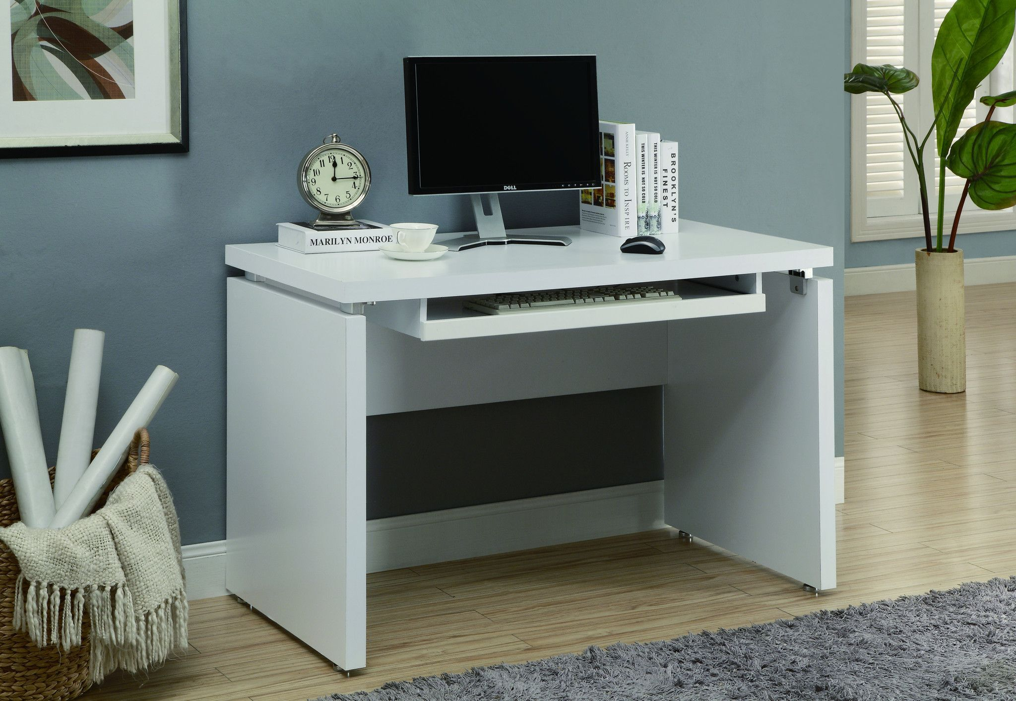 48 Modern White Computer Desk With Floating Top Keyboard Tray White Computer Desk White Desk Office Desk