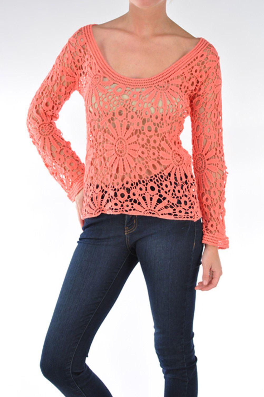Bangbangusa X34 Womens Scoop Neck Long Sleeves Crochet Blouse