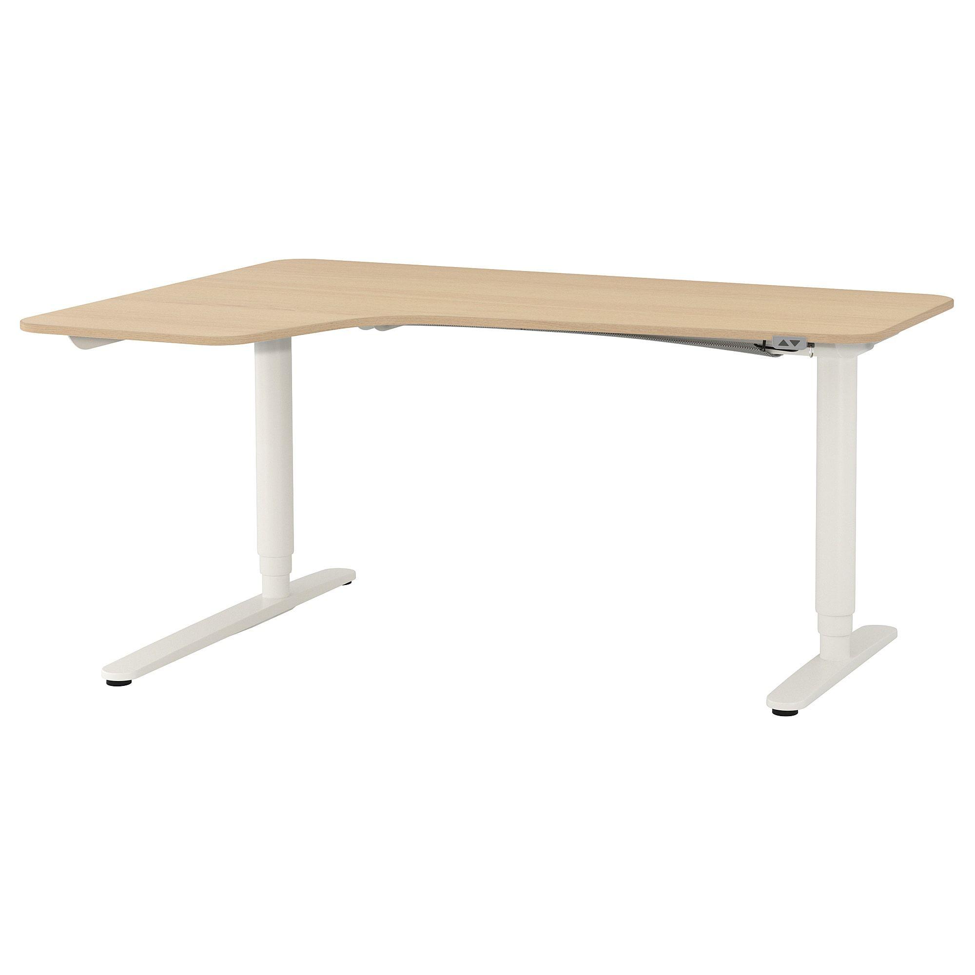 Ikea Bekant Corner Desk Left Sit Stand White Stained Oak Veneer Ikea Ikea Bekant White Corner Desk