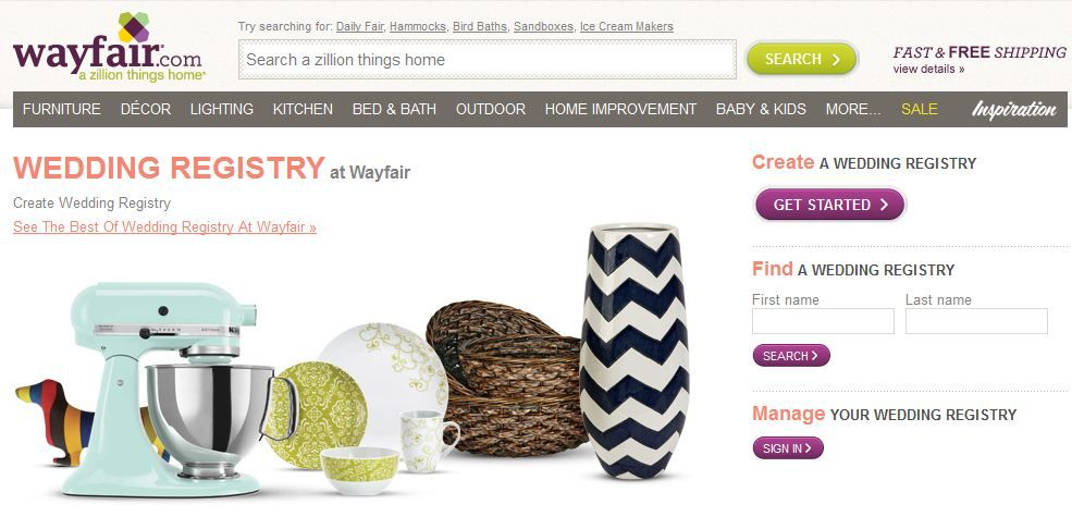 Wedding Registry Wayfair Wedding Registry Registry Sandboxes