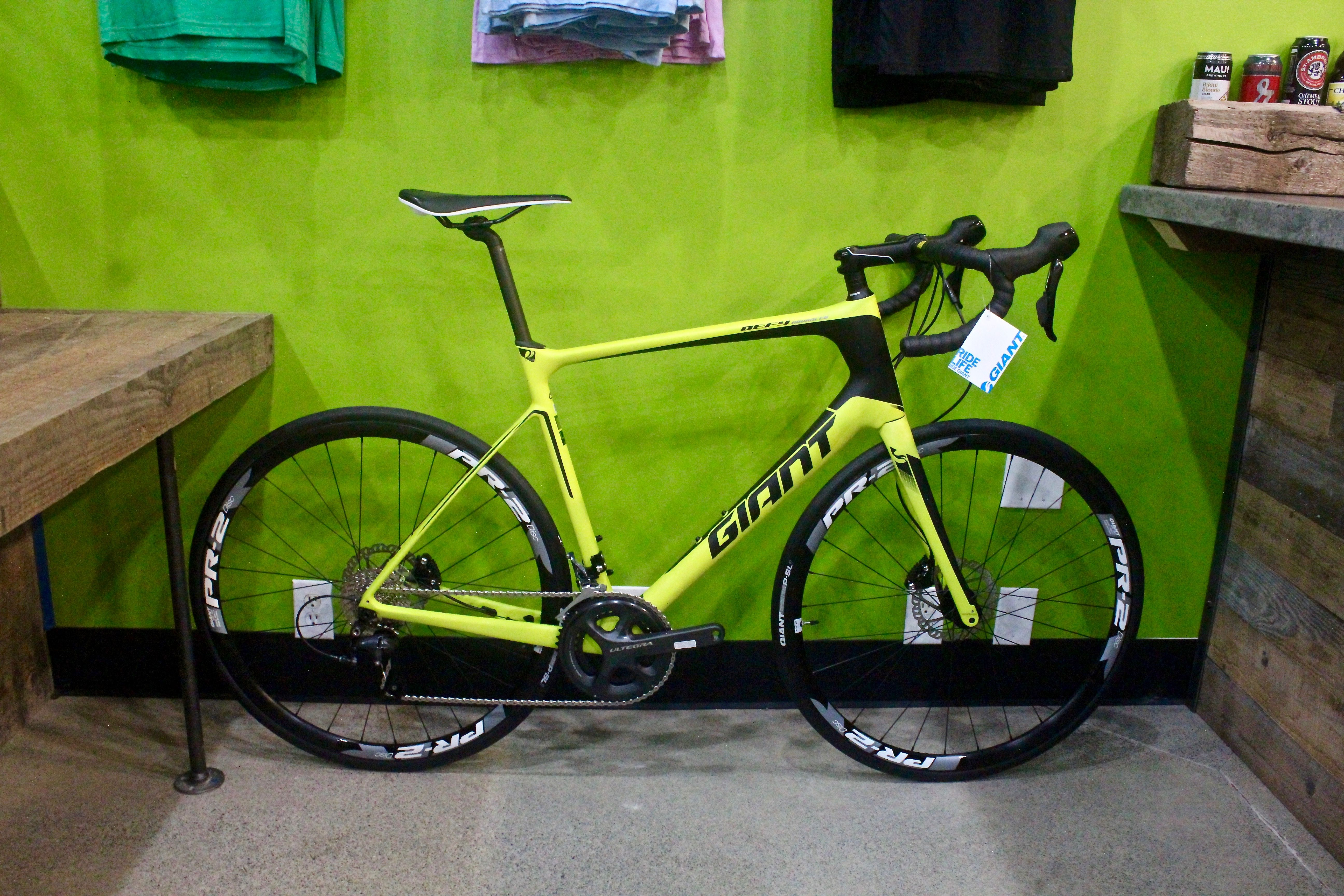 Giant Advanced Defy 1 Lime Green Mens Road Bikes Sizes In Stock