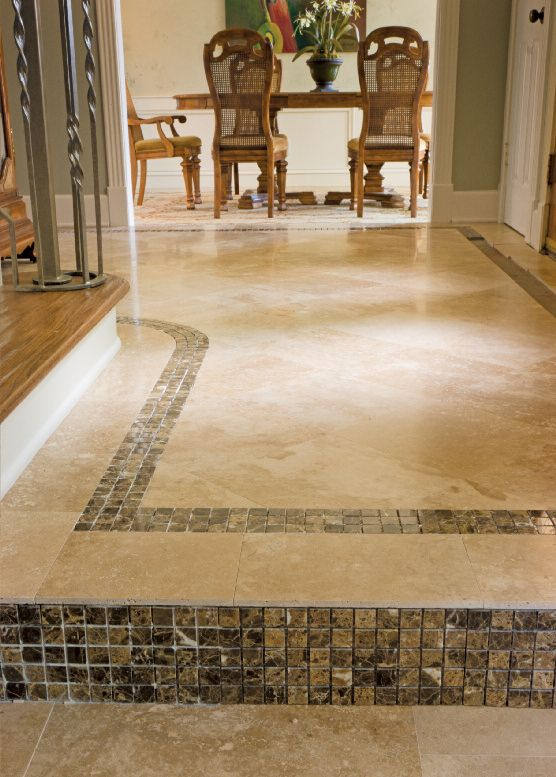 Travertine Floor W/small Tile Insets   Daltile