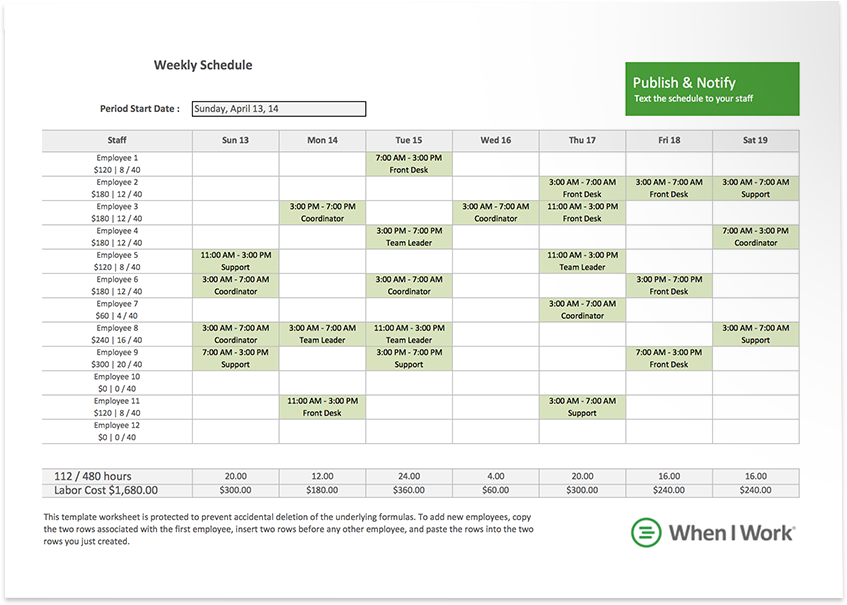 Free Excel Template For Employee Scheduling Work Pinterest