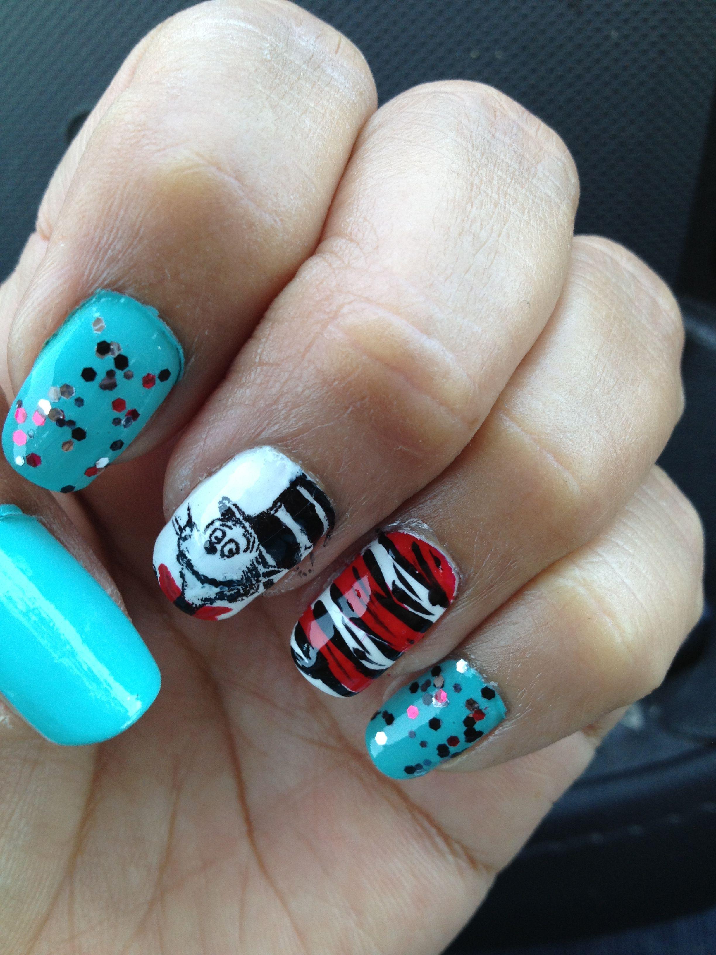 Dr Seuss Nail Art Dr Seuss Nails Pinterest Cat Nails Fun