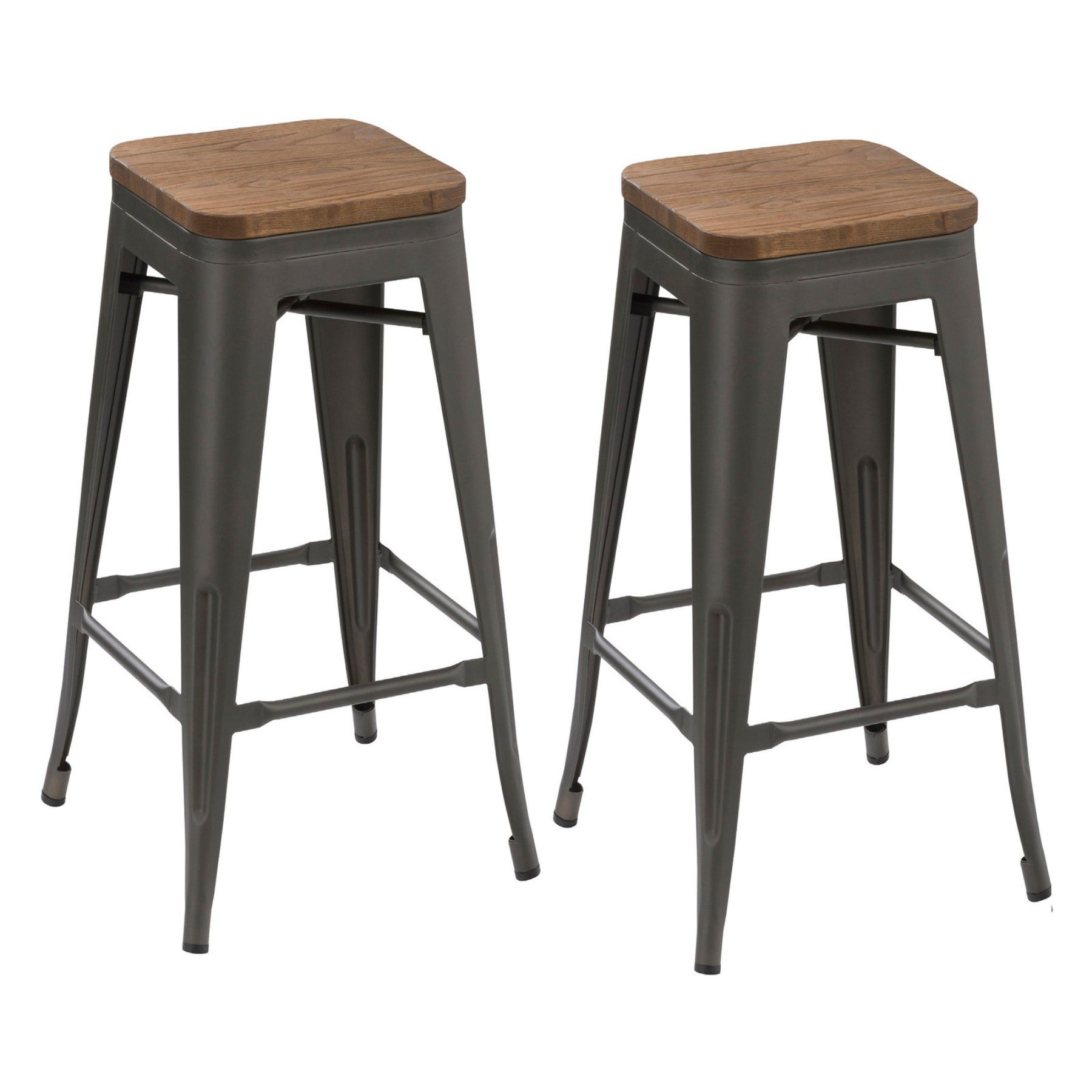 Btexpert Industrial 30 In Metal And Wood Backless Barstool